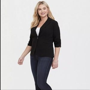 Torrid blazer stretch ruched sleeve 2X Black H